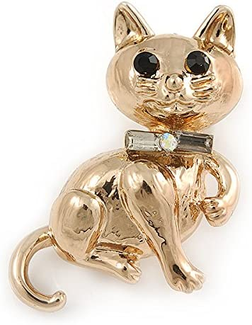 33mm L Avalaya Gold Plated Cat Brooch