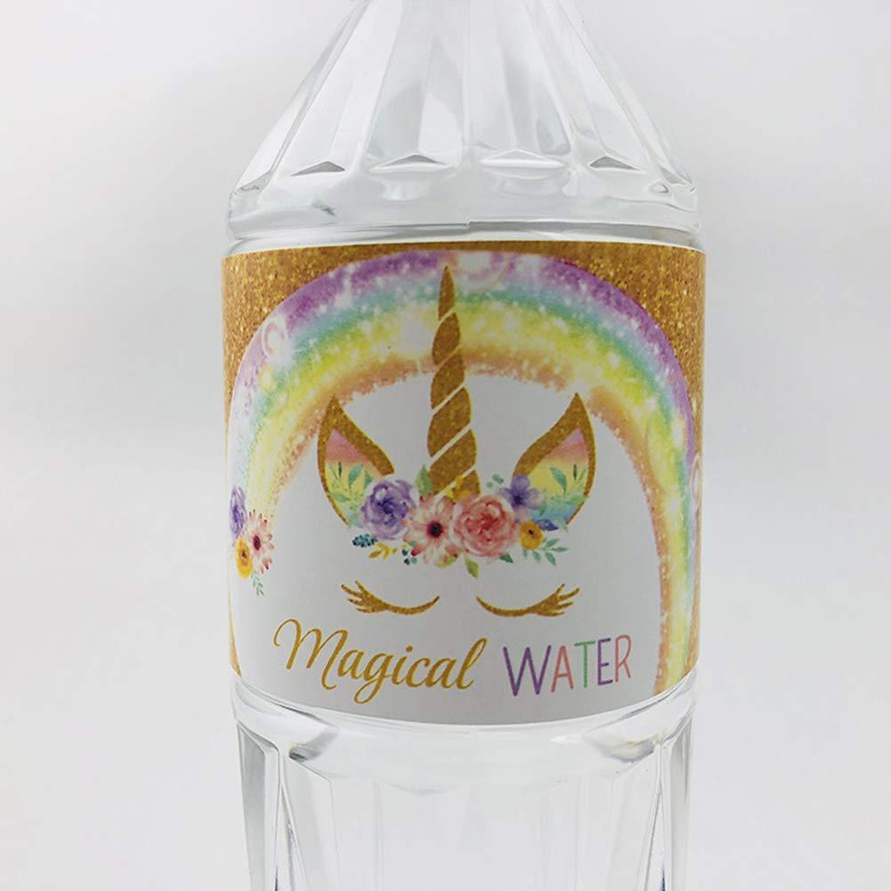 Unicornio Agua Envolturas de botellas, 24 piezas Impermeable ...