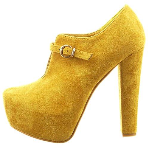 Sopily - Chaussure Mode Bottine Plateforme Ouverte Cheville femmes boucle Talon haut bloc 13 CM - Jaune