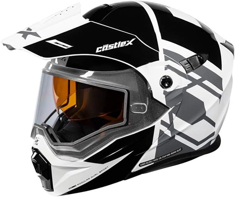 Castle X EXO-CX950 Hex Modular Snowmobile Helmet in Black/White Size XL