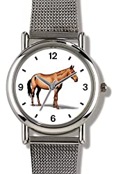 Brown or Bay Horse in Profile - WATCHBUDDY® ELITE Chrome-Plated Metal Alloy Watch with Metal Mesh Strap - Small ( Children's Size - Boy's Size & Girl's Size )