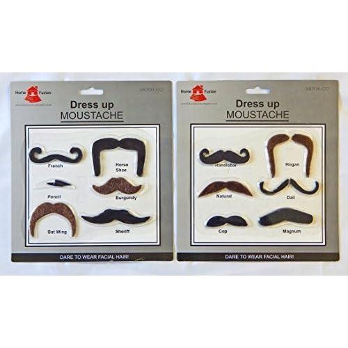 12 x Assortis Déguisement Déguisement Fausse Moustache Enterrement De Vie De Garçon Auto Adhésif