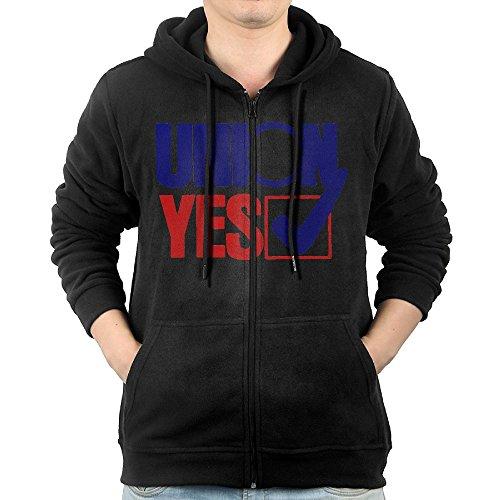 Men's Hoodie Sweatshirt Union Yes Sign Long Sleeve Zip-up Hooded Sweatshirt Jacket S
