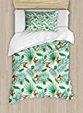 Ambesonne Watercolor Duvet Cover Set Twin Size, Coconut Fruit Exotic Nature Palm Tree Leaves Aloha Hawaii Polynesian Food, Decorative 2 Piece Bedding Set with 1 Pillow Sham, Green Pale Brown