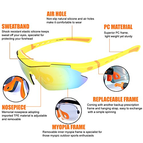Polarized Sports Sunglasses Cycling Baseball Running Fishing Driving Golf Hiking Biking Outdoor Glasses with 5 Interchangeable Lenses Motorcycle Bicycle Riding Goggles for Men Women (yellow & orange) by LOVE'S (Image #7)