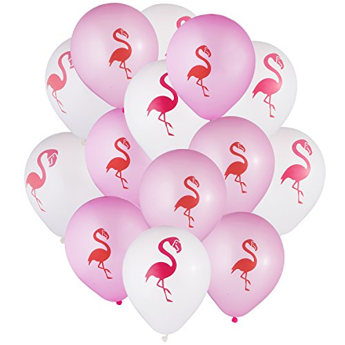 envizins 20 Pieces Pink & White 10 Inches Latex Flamingo Balloons Baby Shower Decorations Wedding Anniversary Birthday Party Supplies -