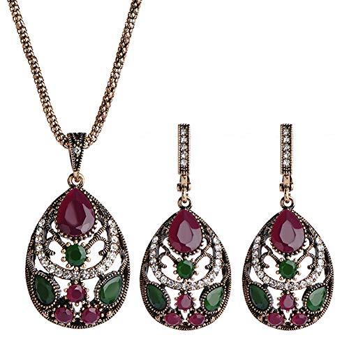 FAgdsyigao Jewelry Necklace,2Pcs/Set Hollow Water Drop Rhinestone Charm Necklace Earrings Women Jewelry Gift - Red
