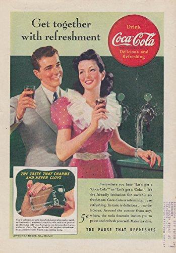 Get together for refreshment Coca-Cola soda fountain ad 1941 T
