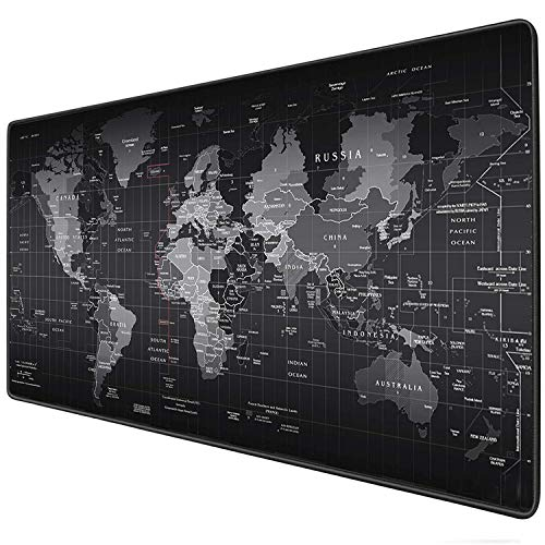 World Map Extended Gaming Mouse Mat Keyboard Mat Laptop Mat Desk Non Slip Mouse Pad For Computer Notebook,Black,Best Gift(Large Size ()