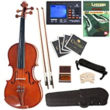 Cecilio CVN-200 Solid Wood Violin with Tuner and Lesson Book, Size 4/4 (Full Size)