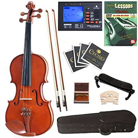 Cecilio CVN-200 Solid Wood Violin with Tuner and Lesson Book, Size 4/4 (Full Size) 4/4CVN-200+SR+92D+FB1