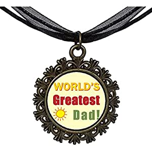 Chicforest Bronze Retro Style World's Greatest Dad Round With Flower Lace Pendant