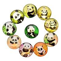 FF Elaine 10 Pack Panda Crystal Glass Fridge Magnets - Refrigerator Magnets, Office Magnets, Calendar Magnets, Whiteboard Magnets (Panda)