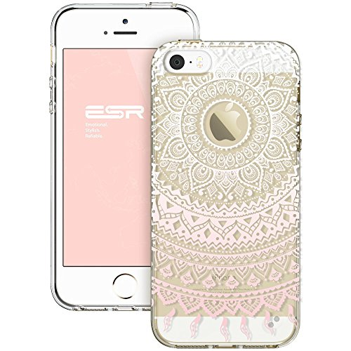 iPhone 5s Case, iPhone se Case, ESR Totem Henna Mandala Floral Pattern Design with Soft TPU Bumper+Hard PC Back Cover for iPhone 5S/SE/5 (Pink Manjusak) - Henna Phone Cases Iphone 5s