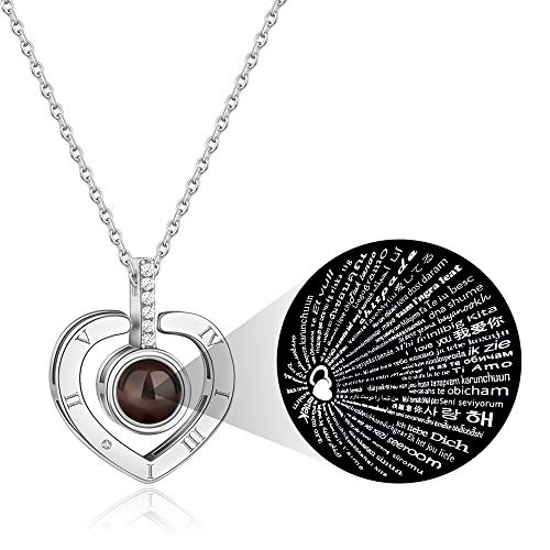 PAERAPAK I Love You Necklace - 100 Languages I Love You Love Heart Projection Necklace for Women Love Memory Pendant Necklace Best Gift for - Multiple Languages