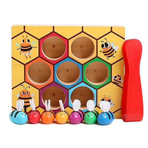 kizh Wooden Lovely Bee Hive Toys Fine Motor Skill Toy Matching Game for Baby Early Educational Toddler Montessori Game Colorful Beehive -