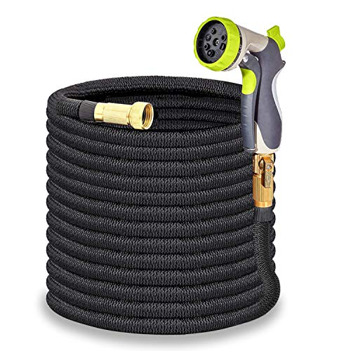 HYRIXDIRECT 75FT Garden Hose Lightweight Durable Flexible Water Hose with 3/4 Nozzle Solid Brass Connector and High Pressure Water Spray Nozzle Expanding Hoses