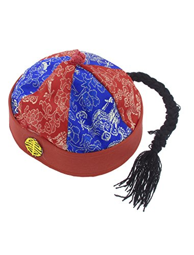 Chinese Landlord Oriental Hat Cap Party Costume Blue Red with Ponytail