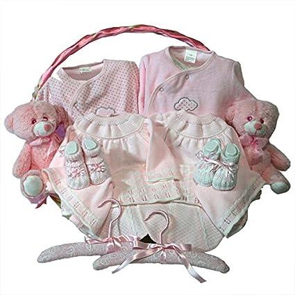Canastilla bebe - Clasica gemelos rosa - Cesta de regalo para recien ...