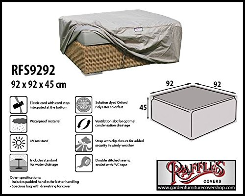 RFS9292 Footstool cover 92 x 92 H: 45 cm Protection cover for ottoman, Garden footstool cover, Outdoor cover for a hocker Raffles Covers