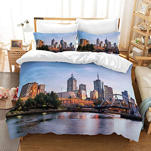 KANAKAL City Early Morning Scenery in Melbourne Australia Famous Yarra River Scenic Decor Bedding Set King Duvet Cover with 2 Matching Pillow Shams (Comforter Sets Australia King)