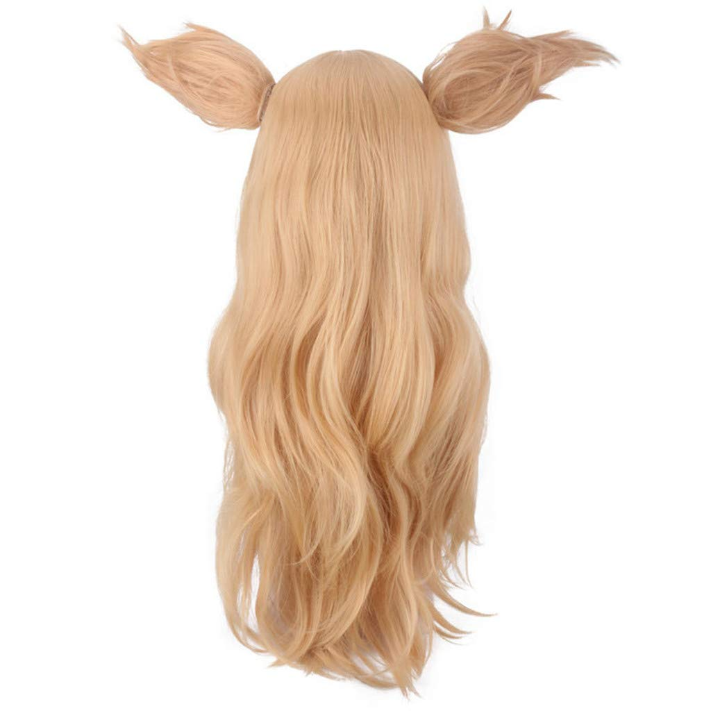 SUPPION Fashion Women Cute Cosplay Wig Long Straight Blonde Gold Hair Ears Women Anime Wigs (A) by SUPPION