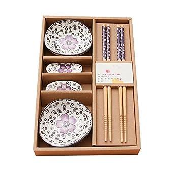 yookoon 6 piezas Juego de mesa Ware cubertería pequeño plato de estilo chino palillos de bambú palillos de madera para casa de regalo regalos: Amazon.es: ...