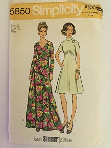 """Simplicity 5850 Vintage Misses 1970s Maxi Dress """"Look Slimmer"""" Sewing Pattern, Check Listing for Size"""