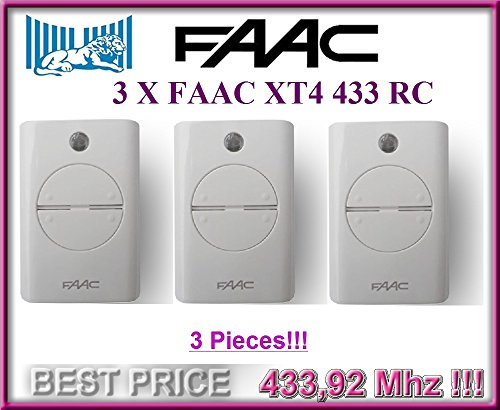 Faac the best amazon price in savemoney 3 x faac xt4 433 rc white remote control transmitters model 787452 long fandeluxe Gallery