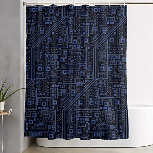 (Washable Shower Curtains, Thick & Durable Polyester Bath Curtain, Eco-Friendly, Water Repellen Bathtub Curtain with Plastic Hooks, Circuit Board)
