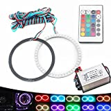 EverBright 1-Set 90MM Outer Diameter Multi-Color RGB LED Halo Rings Light 48SMD 5050 Super Bright Angel Eyes Circle Ring Headlight Lamp Daytime Running Lights(DRL) With Remote Control-12V,10W