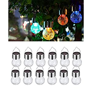 6 Pack Hanging Solar Powered LED Light with 9 Color Auto-Changing, Cracked Glass Ball Light, Waterproof Outdoor…