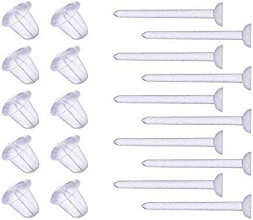 Amazon Com Aishne Clear Plastic Ear Piercing Retainers 10 Pairs