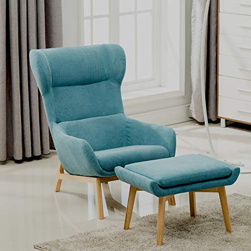 Irene House Contemporary Soft Brush Fabric Reading Chair Height Back Accent Leisure Chair,Living Room,Bedroom Arm Chair (Blue with Ottoman)