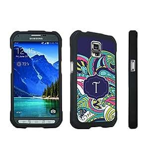 DuroCase ? Samsung Galaxy S5 Active SM-G870A Stylish Hard Case Black - (Mint Flower Monogram T)