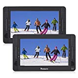 """NAVISKAUTO 10.1"""" Dual Screen Portable DVD Player for Car, Headrest Video Player with 5-Hour Rechargeable Battery and Last Memory Function (Two Screens Play One Movie)"""