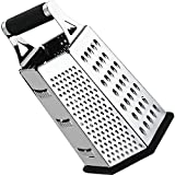 Cheese-Grater-Vegetable-Slicer Stainless Steel - 6-sides, 9.5 Inch Height, Rubber Handle, Non Slip Rubber Bottom by Utopia Kitchen