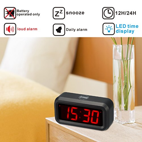kwanwa led digital alarm clock battery powered only small for bedrooms with big ebay. Black Bedroom Furniture Sets. Home Design Ideas