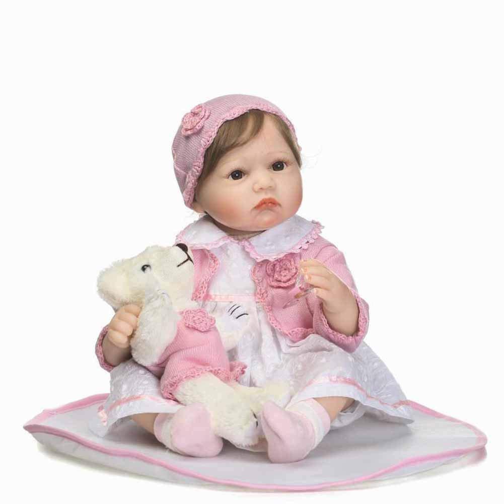 CHENG Mini Reborn Babypuppe 22 Zoll mit Augen öffnen Kinder