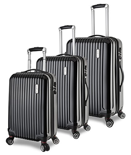 TravelCross Berkeley Luggage 3 Piece Lightweight Spinner Set - Black by Travelcross