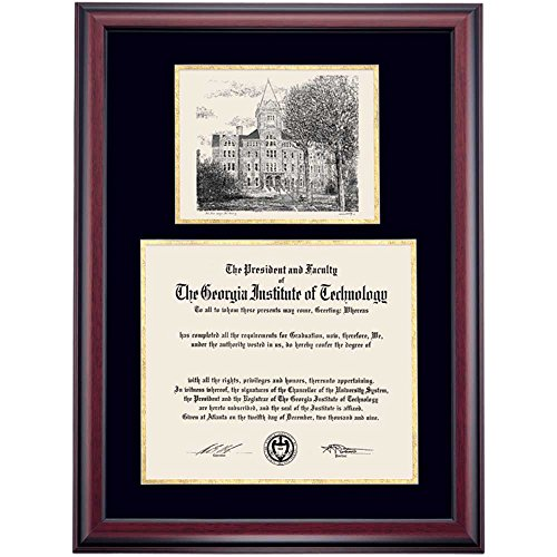 Campus Linens Georgia Tech Yellow Jackets Diploma Frame Black Gold Matting Pen & Ink (Georgia Tech Diploma Frame)