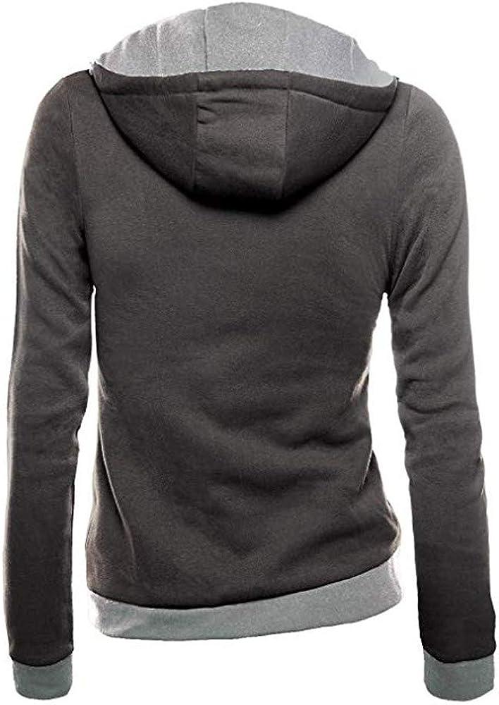 Femme Automne Hiver D/écontract/é Sweats /à Capuche Hoodies Pullover Sweat-Shirt Manches Longues Vestes Sweatshirts Zipp/é Oblique Manteau Jumper Tops