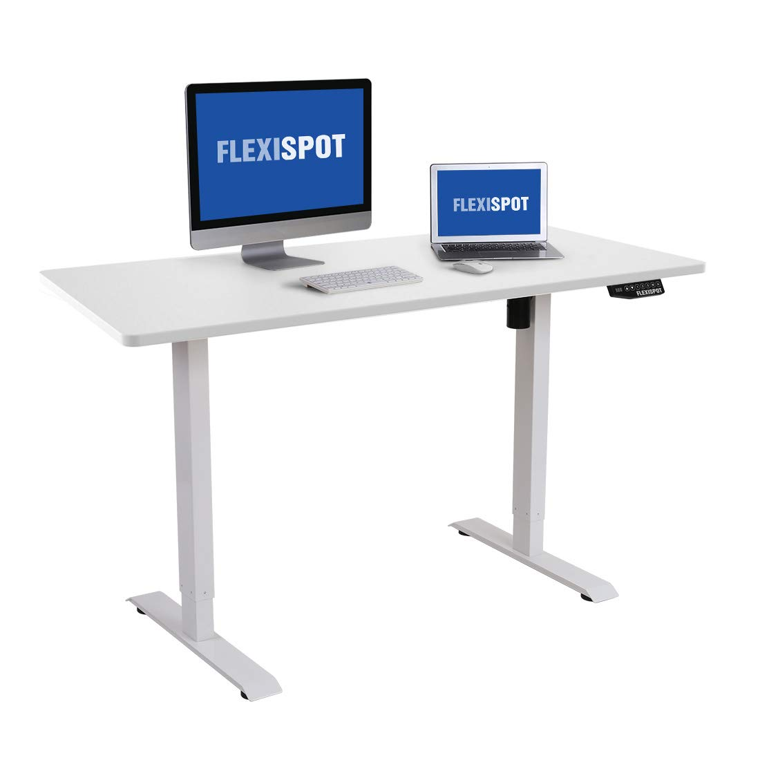 "Flexispot Electric Stand Up Desk Frame Workstation, 55 x 28 Inches, Dual Motor Ergonomic Standing Height Adjustable Desk Top Base (White Frame + 55"" White Top)"