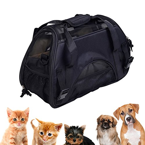 Large Durable Two Sided Dog and Cat Carrier, Portable Puppy Travel Carrier Bag Under Seat Foldable Pet Travel Bag, Airline Approved, Removable Soft Cotton seat, 19×12.6×9.5 Inch, Black