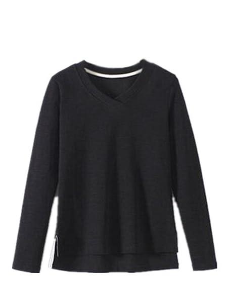 AILIENT Hipster Mujeres Camisetas De Manga Larga Cuello V Moda T Shirt Suelto Blusas Camisas Slim