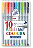 Staedtler 334 Triplus Fineliner Superfine Point Pens, 0.3 mm - Assorted Colours, Pack of 10
