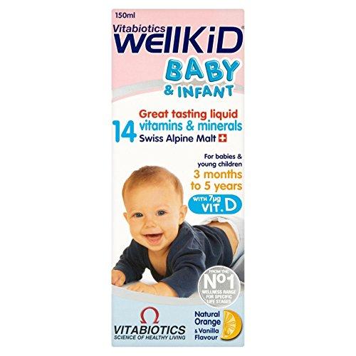 4 Units (Bulk Pack) Vitabiotics WellKid Baby & Infant Natural Orange & Vanilla Flavour 150ml