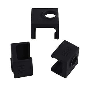 3D Printer MK10 Silicone Socks, Aokin 3 Pcs MK10 Heater Block Silicone Cover for Wanhao Duplicator i3 Makerbot 2 QIDI Tech Flashforge, Black