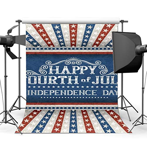 Gladbuy Independence Day Backdrop 6X9FT Vinyl Happy 4th of July Backdrops Multicolor Stars Stripes Rays Wallpaper Photography Background for Veteran Day and Labor Day Party Photo Studio Props YB10