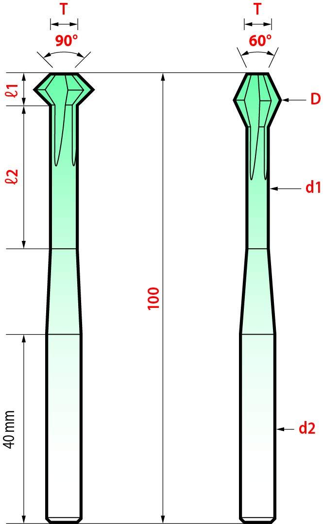 60 Degree Magafor 888460H1200 Hard-X Carbide Standard Bi-Face Biconical Milling Cutter 12.0 mm